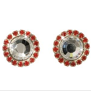 SORRELLI red circle post earrings game day white